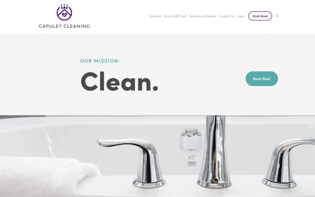 website build for capulet cleaning screenshot of home page above the fold